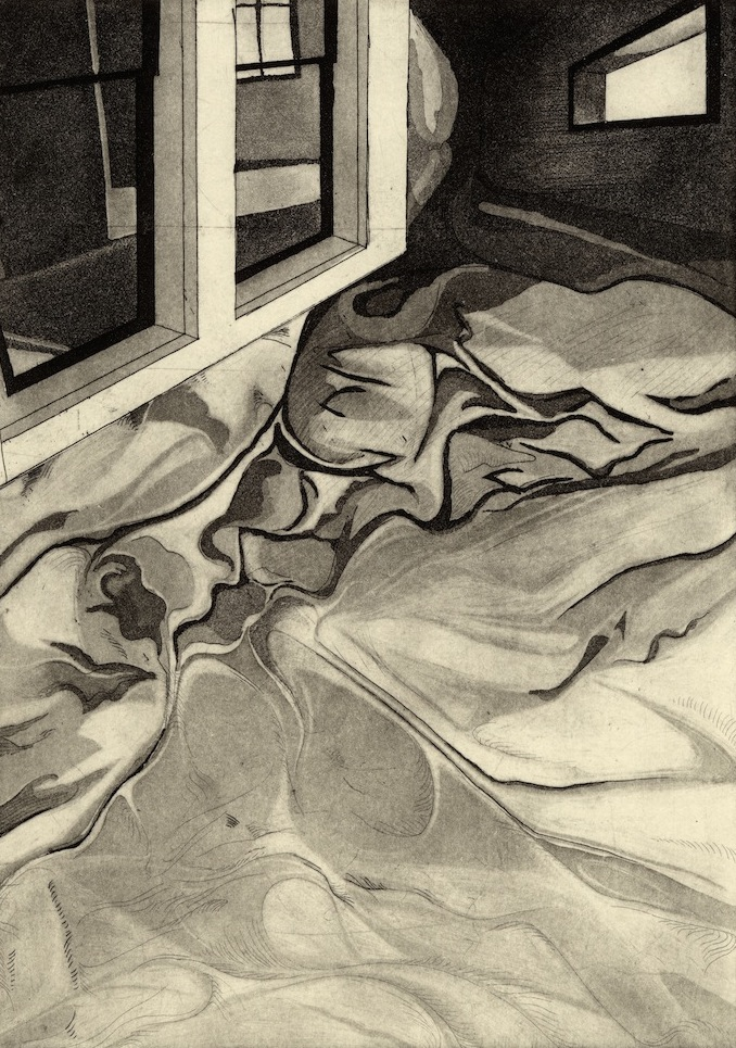 "Room II,  etching, 6.5""x9"" 2014"