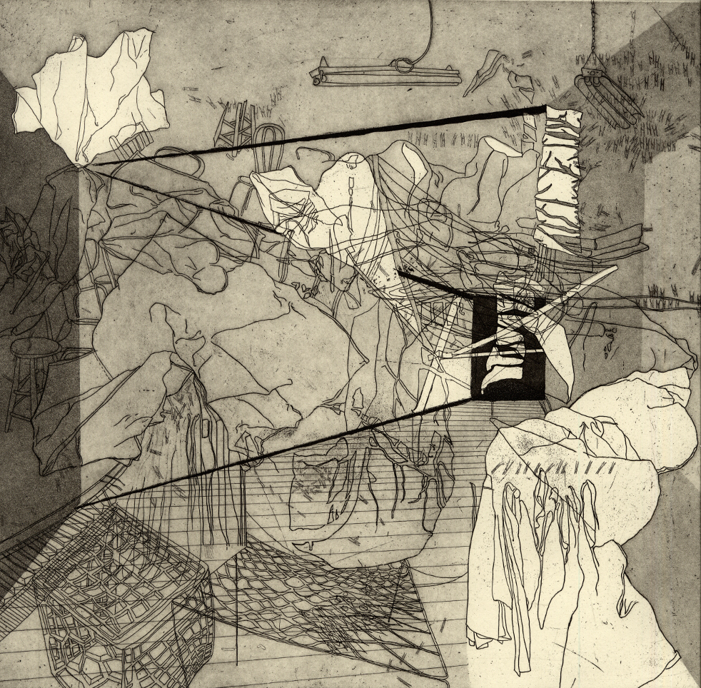 """Room I,  etching, 12""""x13"""" 2014"""