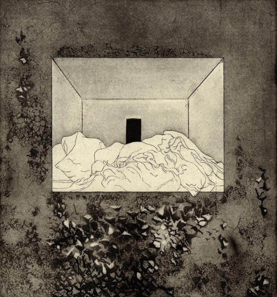 "Room V,  etching, 6.5""x7"" 2014"