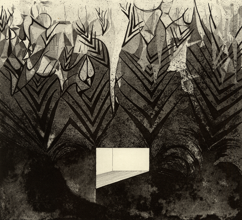 "Room VII,  etching, 10""x11"" 2014"