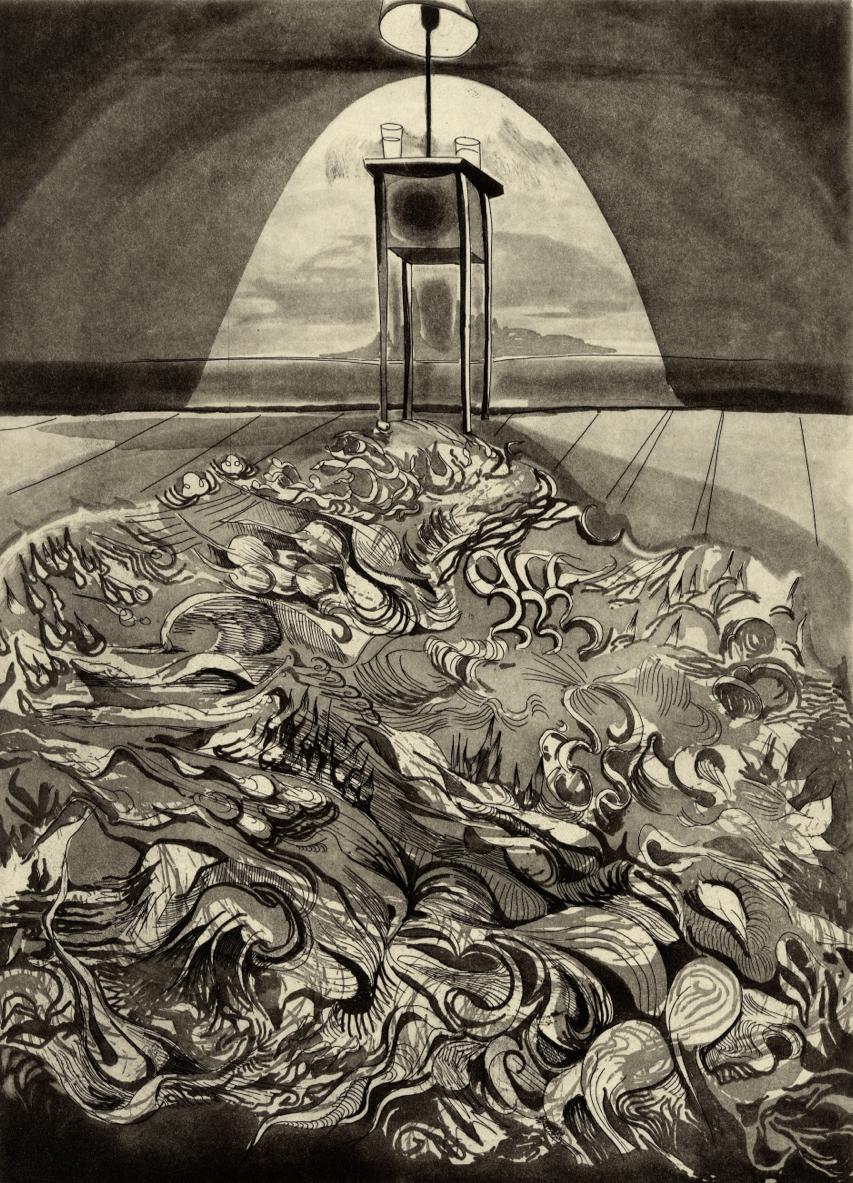 "Room VI,  etching, 8""x11"" 2014"