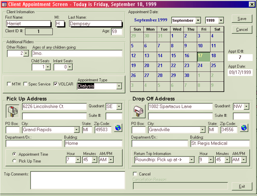 1999 ParaPlan Appointment Screen