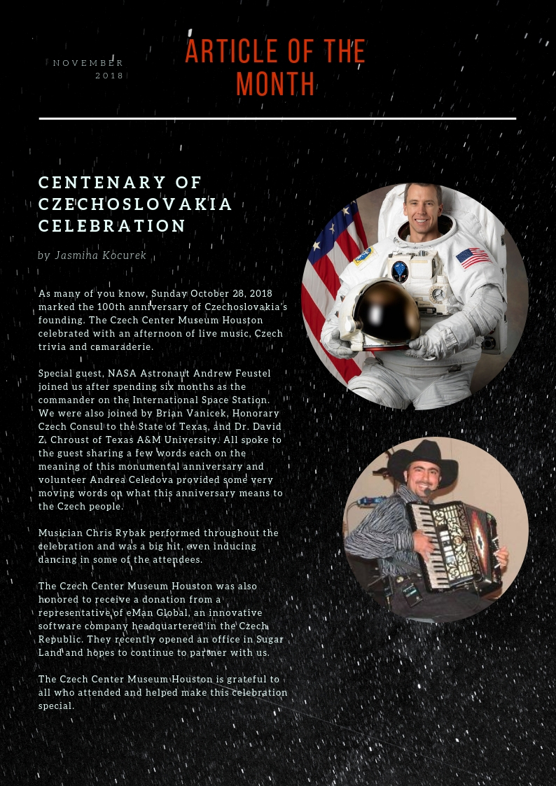 News of the Czech Center Museum Houston November 2018 & Events