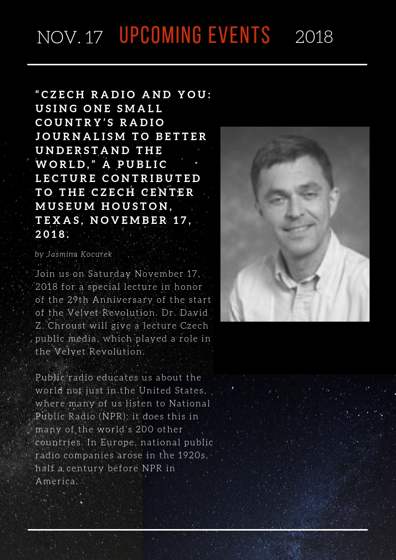 News of the Czech Center Museum Houston November 2018 & Free Lecture