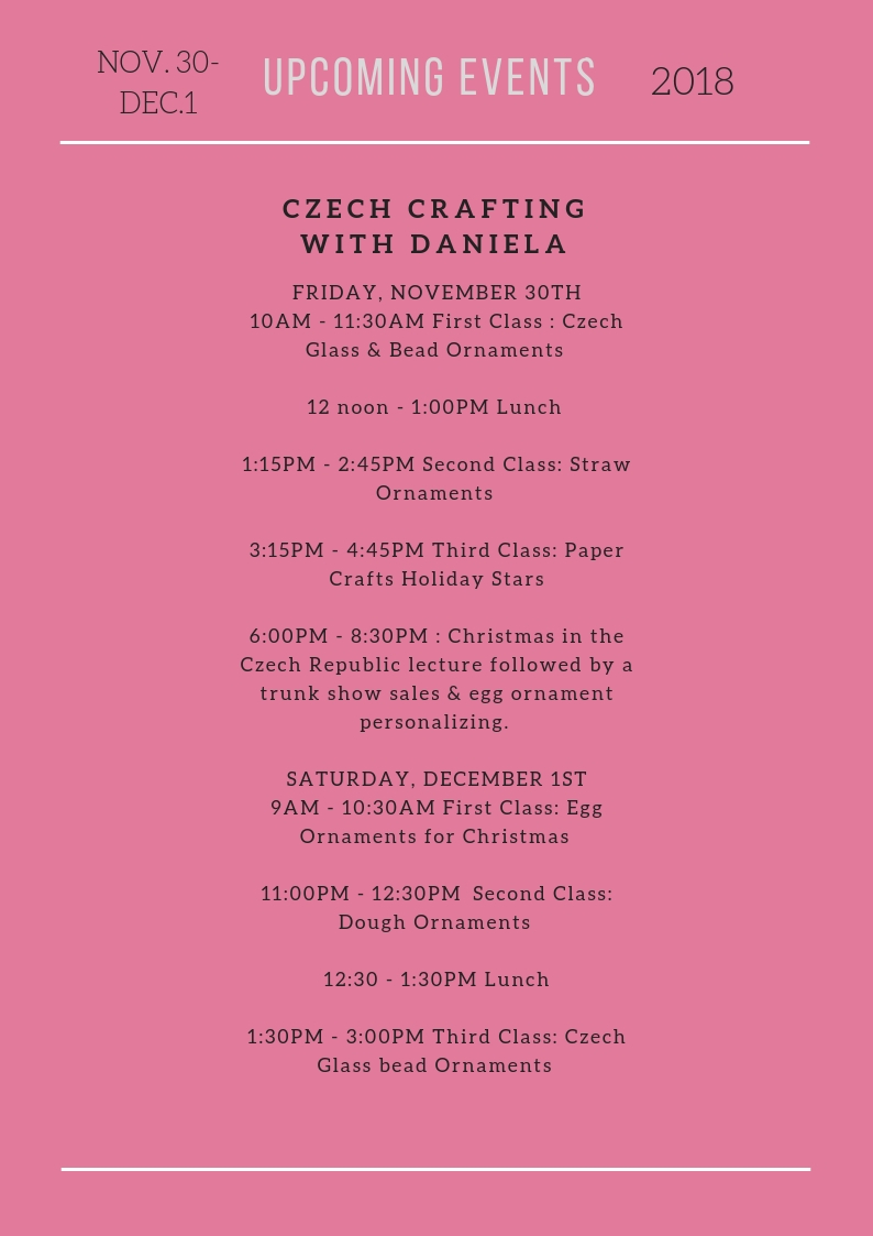 News of the Czech Center Museum Houston November 2018 & Upcoming Events in November and December