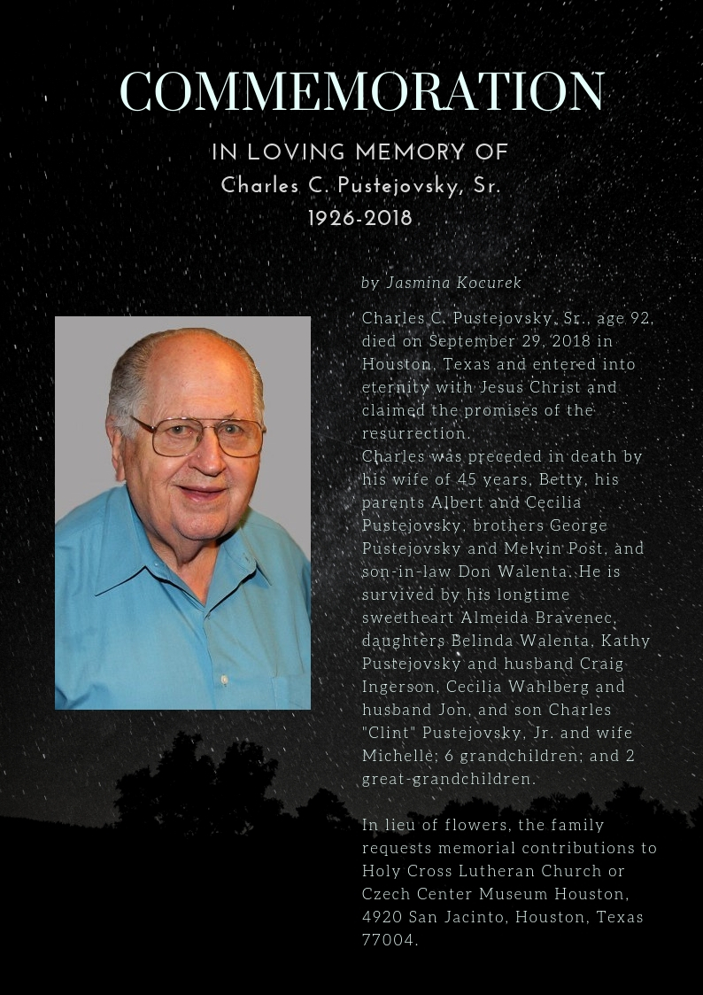News of the Czech Center Museum Houston November 2018 & Obituary of Pustejovsky