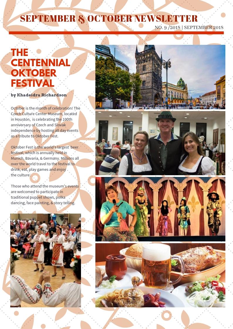 September & October Newsletter Centennial Oktober Festival