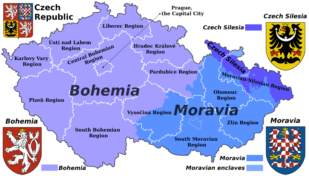 map of bohemia, moavia, and czech silesia