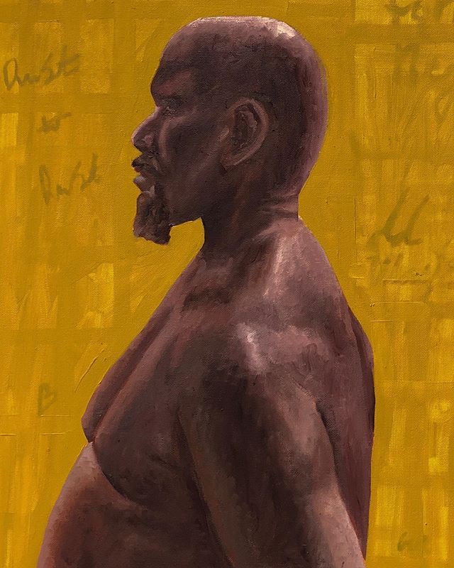 """Detail of """"Meditation of 19"""" 28 hour pose, oil on canvas . : : : : #oilpainting #oil #painting #newyorkarts #figurepainting #figurativeart #artstudentsleague #yellow"""