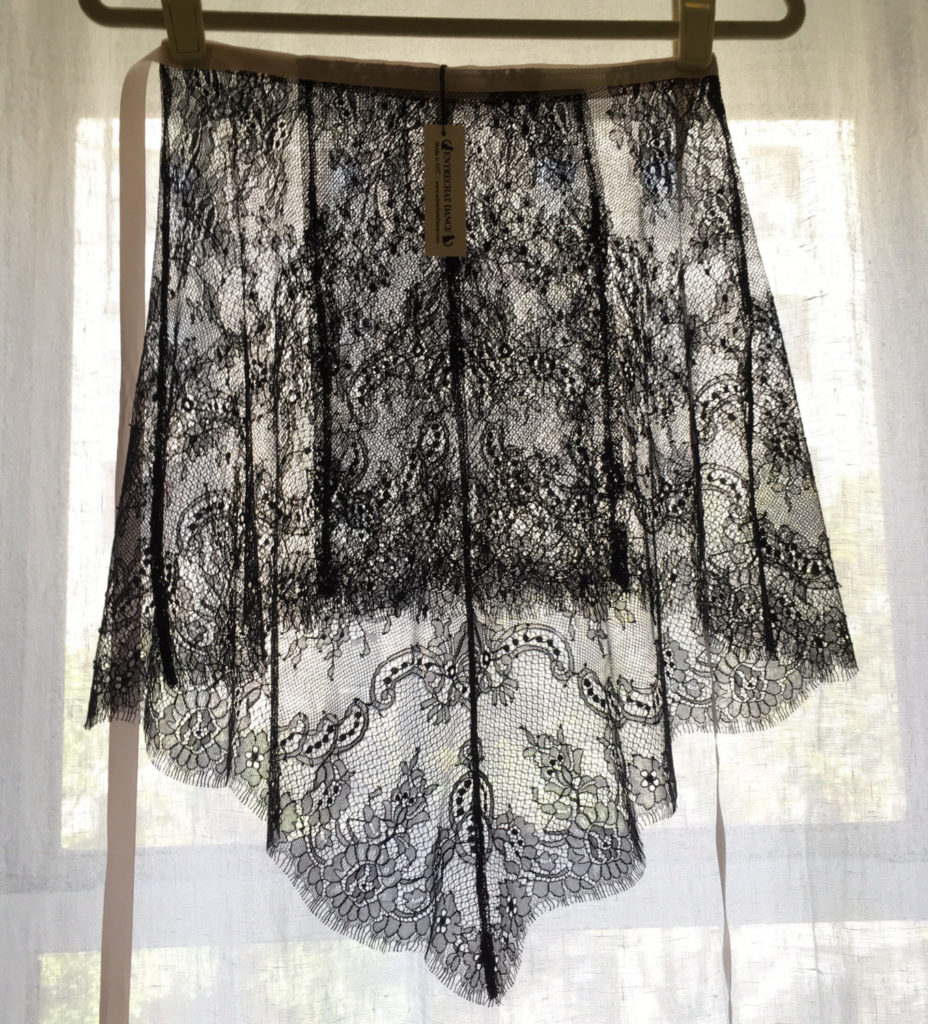 Black Alexandra Eyelash Chantilly Lace Ballet Wrap Skirt