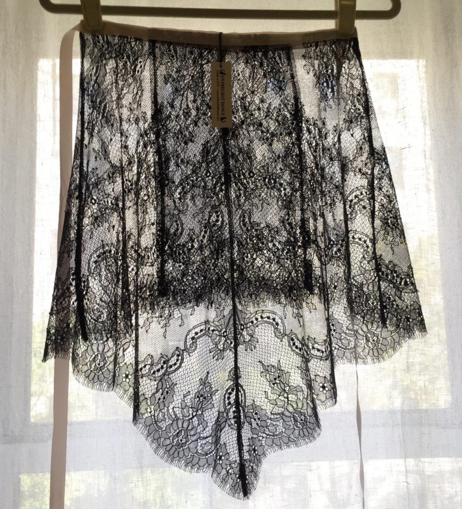 Black Alexandra Eyelash Chantilly Lace Ballet Wrap Skirt