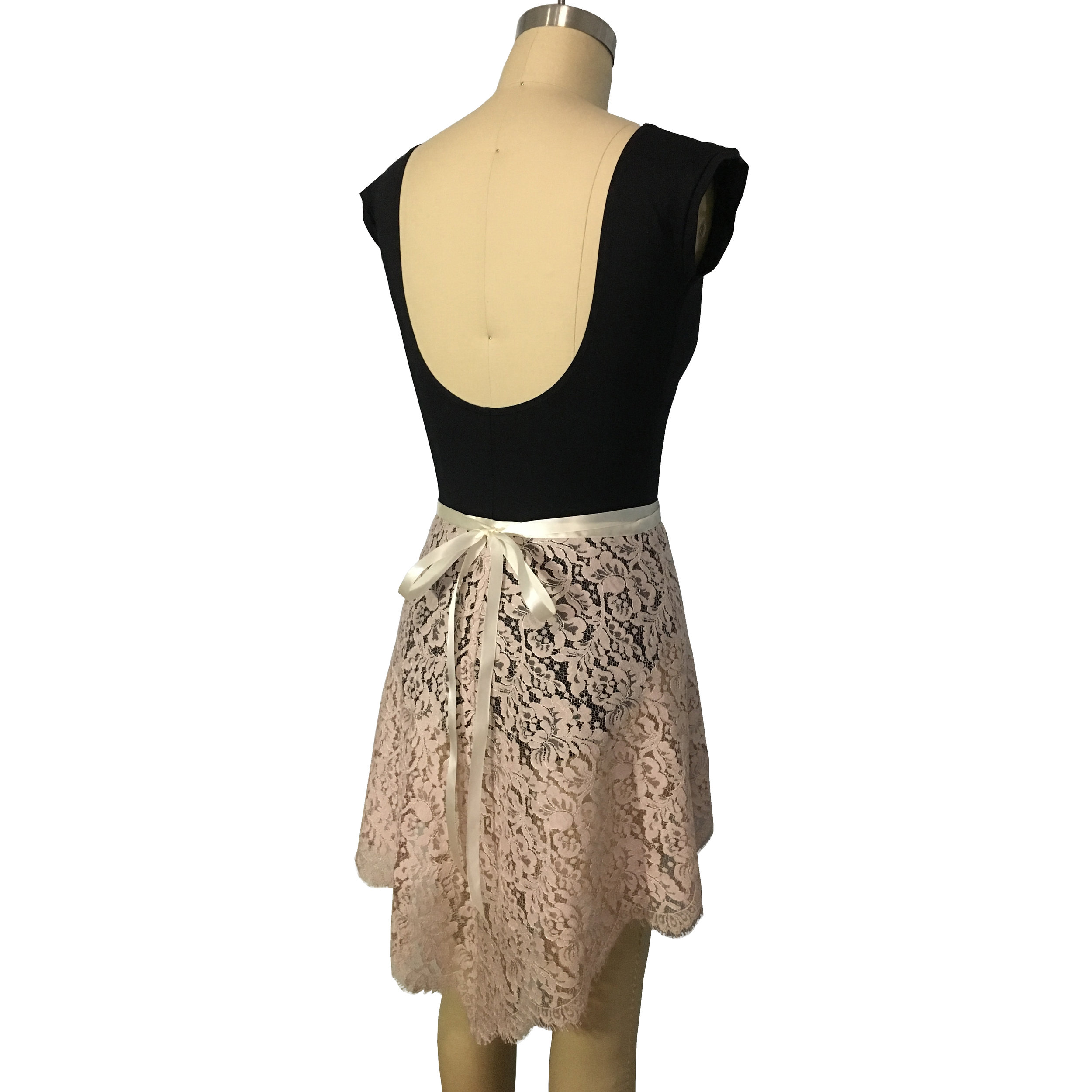 Eliza Leavers Lace Wrap Skirt in Pink with Ivory Ribbon Waistband