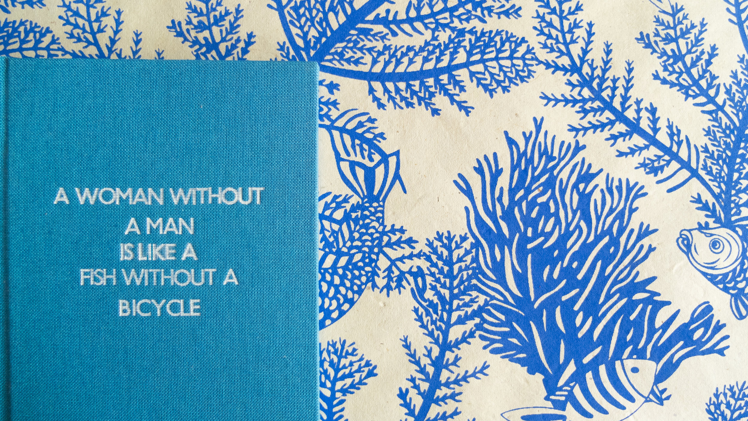 A Woman without a man is like a Fish without a bicycle - This quote tickles me everytime i read it, i love it so much and when i found the fish endpapers in Paperchase I let out a tiny squeal as i knew it would work so well with it. The quote is often attributed to Gloria Steinem, but she has ascribed the words to the Australian social activist Irina Dunn who claimed that she created the adage and wrote it on a bathroom wall in 1970