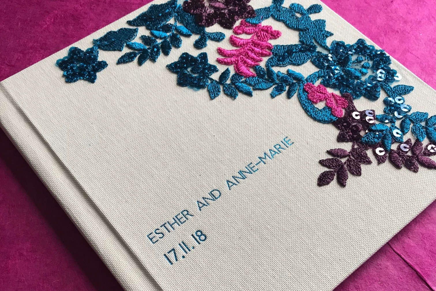 Wedding album: this has a printed book inside, the customer provided the printed book and i did the case for it.