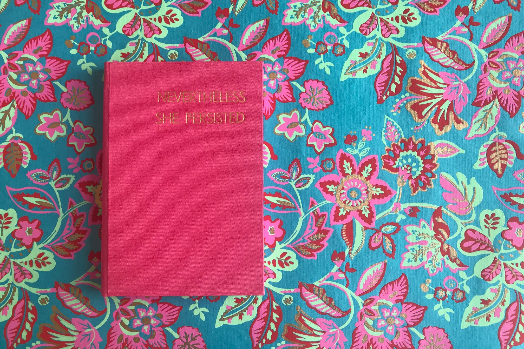 """Nevertheless She Persisted... - I love this book, the colours together are a classic combination, these endpapers are from the Esme Winter collection and called Frequency. """"Nevertheless, she persisted"""