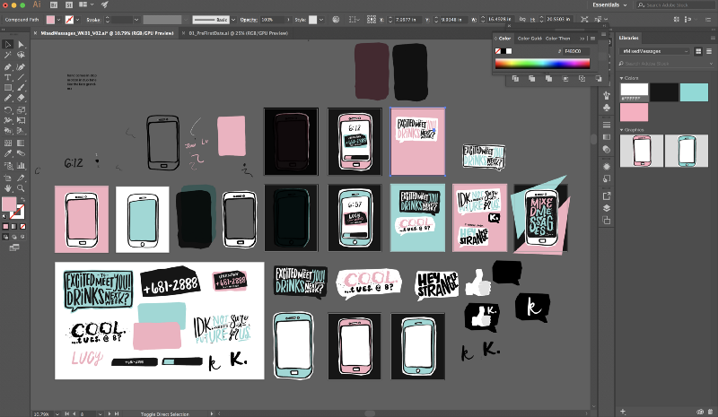My crazy looking Illustrator file. 4-color palette, hand-drawn lettering, and choppy shapes.
