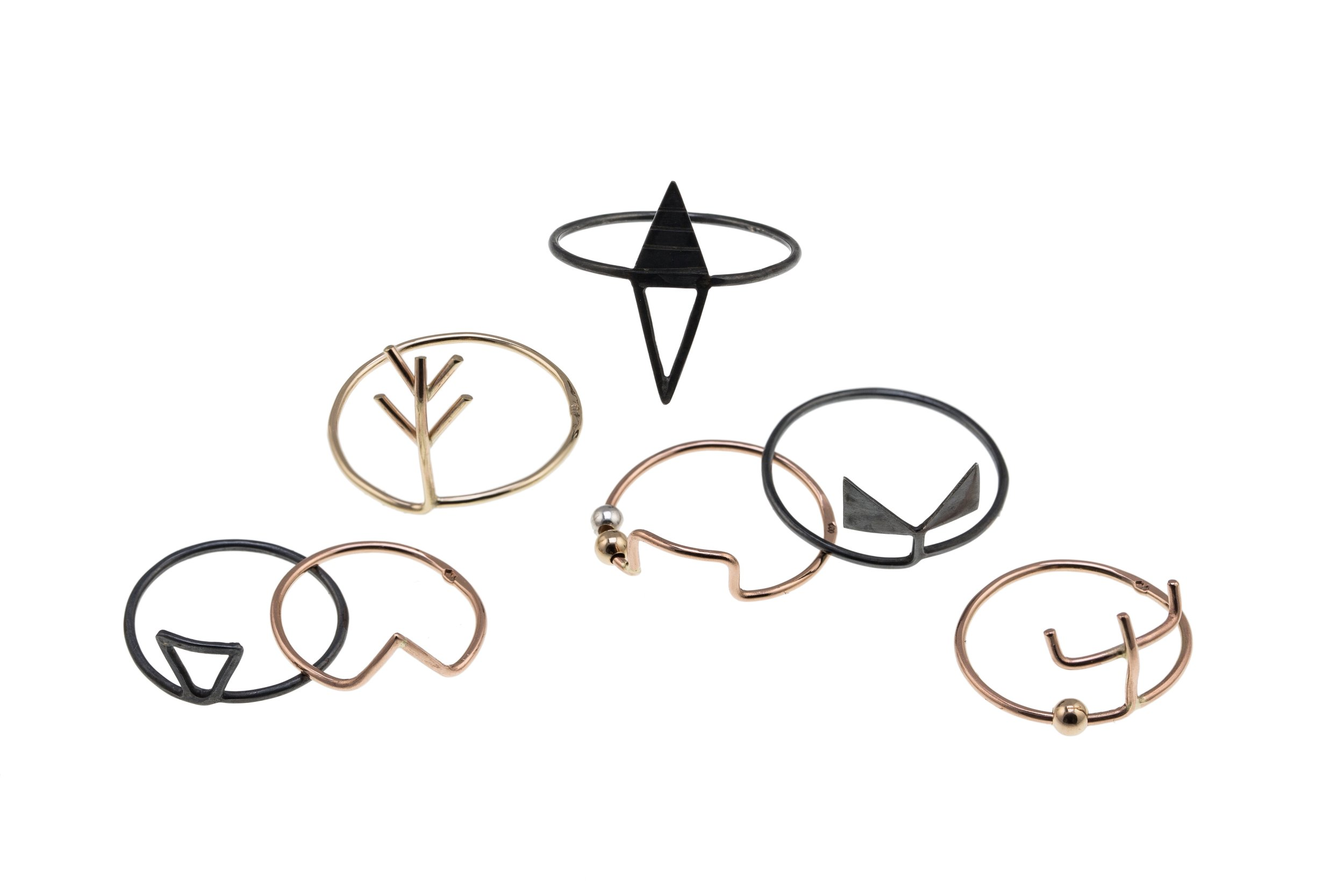 Stacking Symbol Rings - Gold, Rose gold, Silver & Oxidised Silver