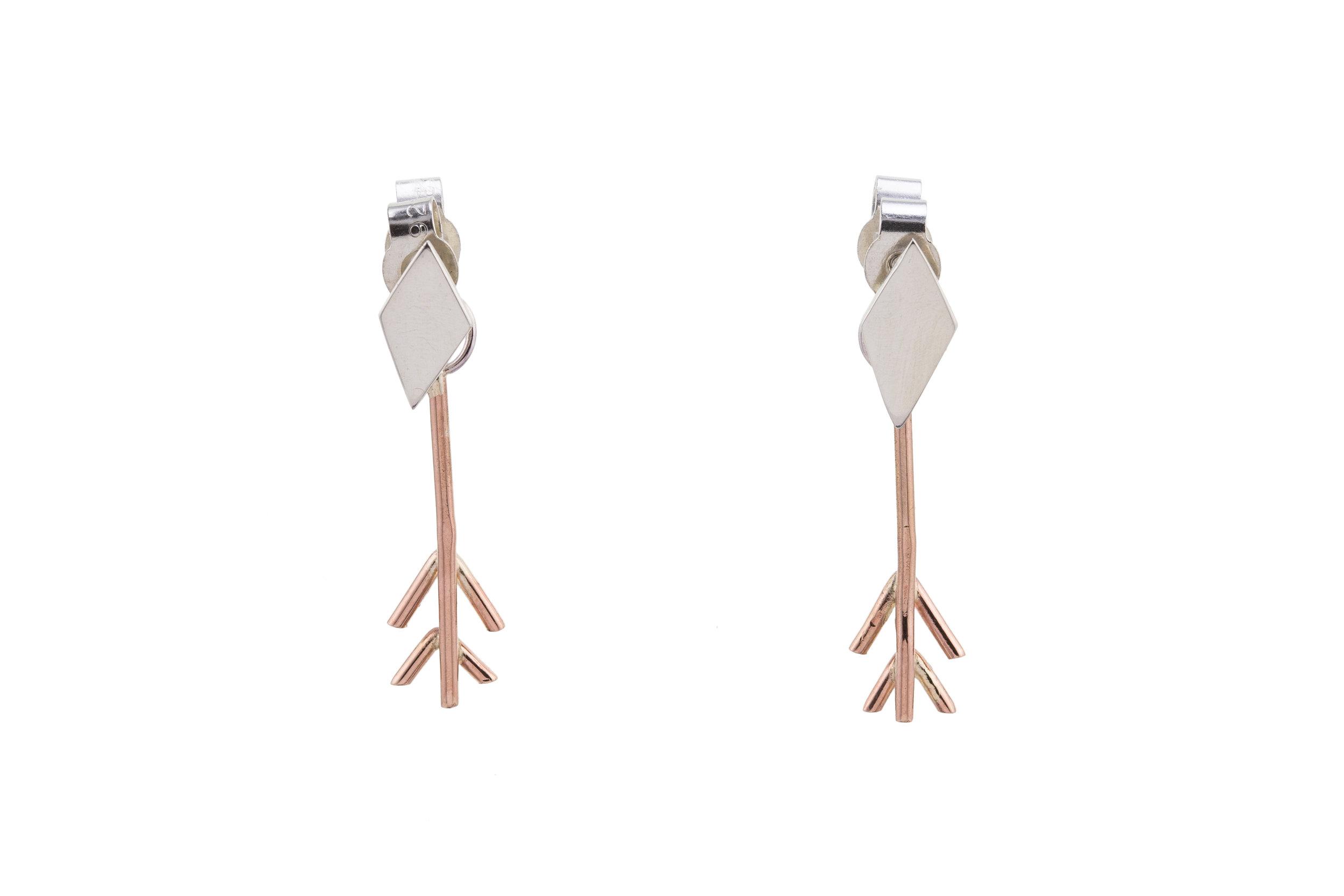 'Arrow' Stacker Earrings - Rose gold & Silver