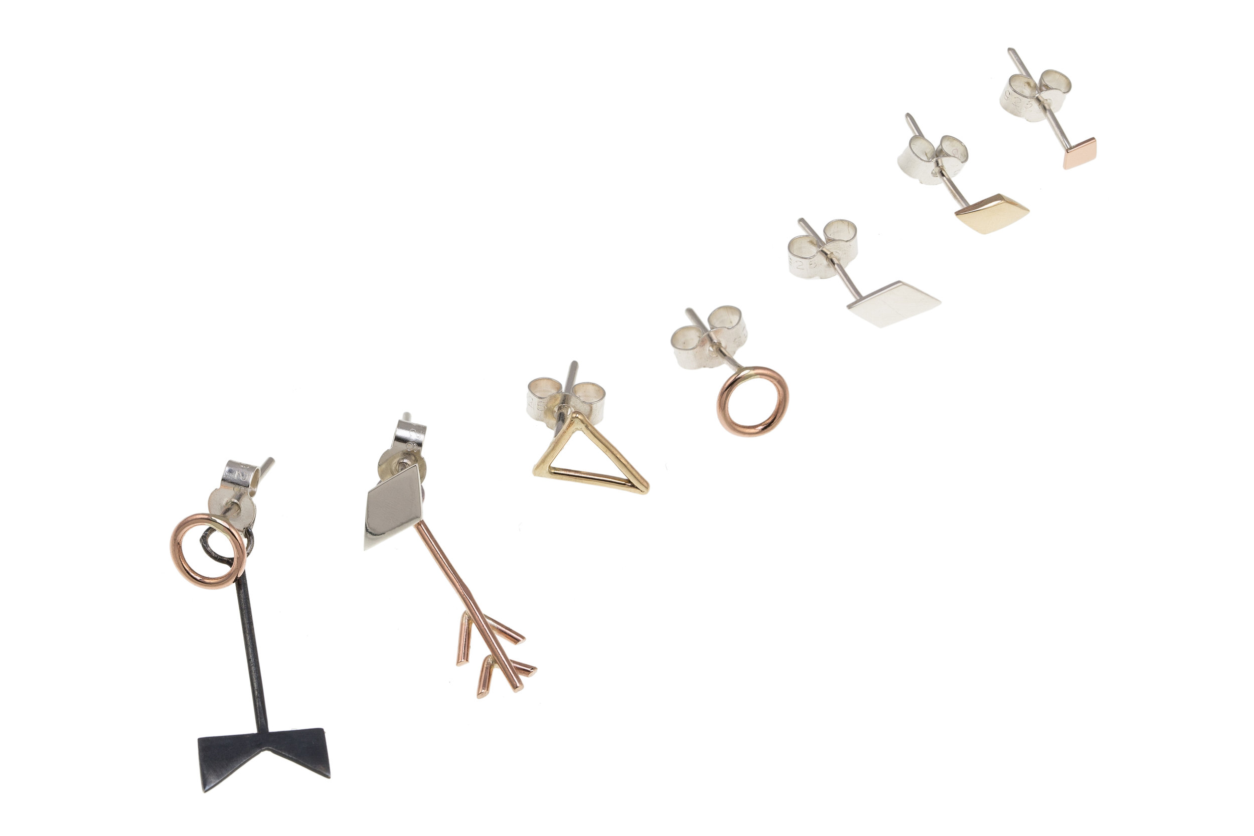 Stacker Earrings - Rose gold, Gold, Silver, Oxidised Silver (Sold Individually)