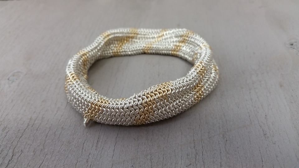 Bespoke chainmail tube bracelet - Silver and 9ct yellow gold 2015