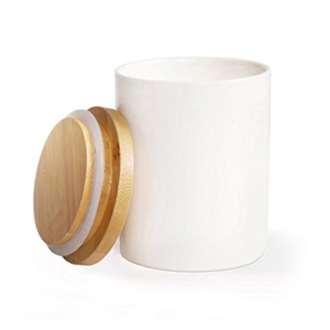 White Ceramic Food Storage Canister with Airtight Seal Bamboo Lid