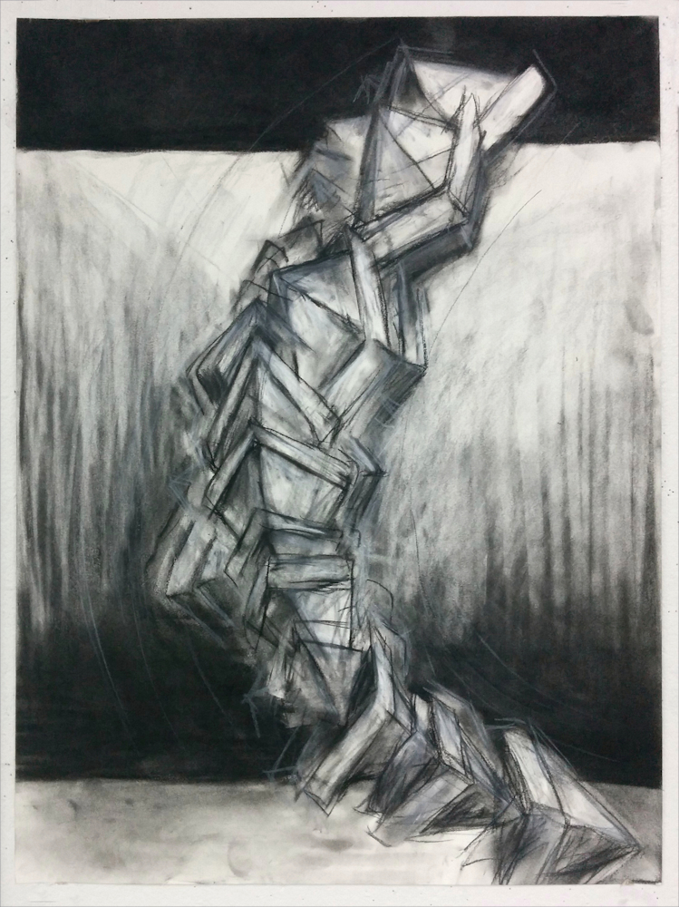 """""""Tipping Point,"""" 2016. Charcoal and conte on paper. 18"""" x 24""""."""