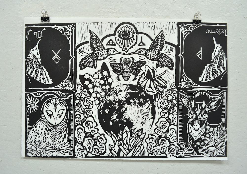 """Altar,"" 2016. Linocut print. 12"" x 18"" open, 9"" x 12"" closed."