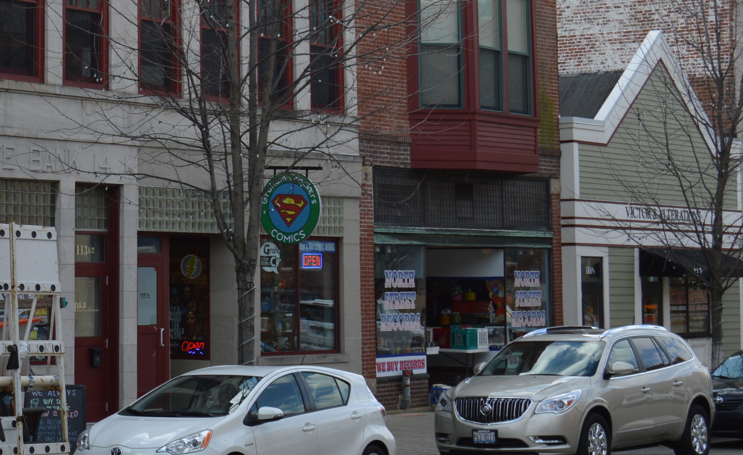 Several small businesses on W North Street in Uptown Normal (Christian Prenzler for AdaptBN)