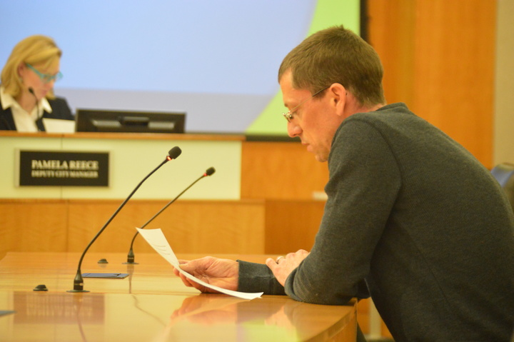 Andy Streenz of Bloomington asked council members to protect historic buildings in Uptown at the Normal Town Council meeting Tuesday evening. (Credit: Breanna Grow)