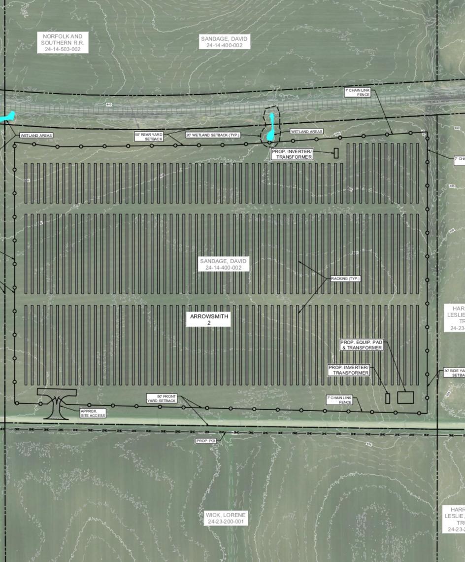 The Arrowsmith II facility site at 36300 County Road 1100 N, Arrowsmith