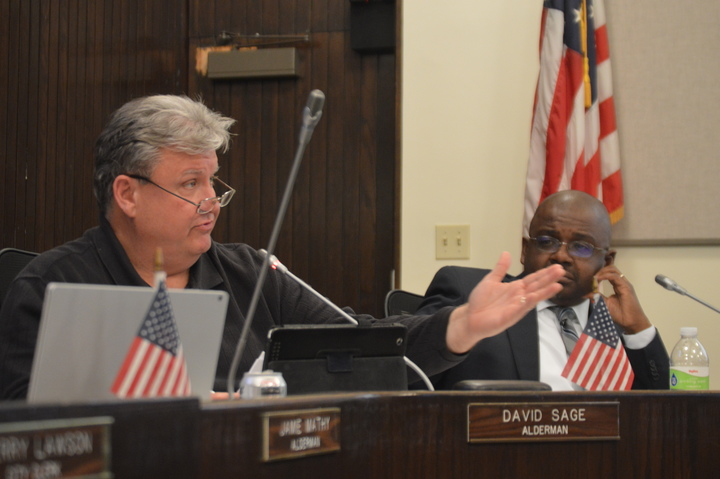 "Ward 2 Alderman David Sage speaks on the idea of contracting out the City's solid waste pickup following a budget scenario presentation Monday evening. ""To me there's value in having that discussion,"" said Sage. (Image Credit: Breanna Grow)"