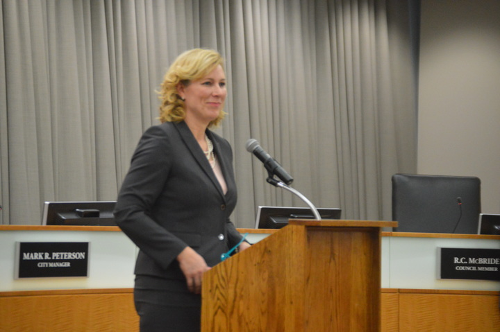 Pamela Reece will be the next Town of Normal City Manager, Normal Mayor Chris Koos announced at a press conference Tuesday morning. Reece will succeed Mark Peterson, who will retire at the end of March. (Image Credit: Breanna Grow)
