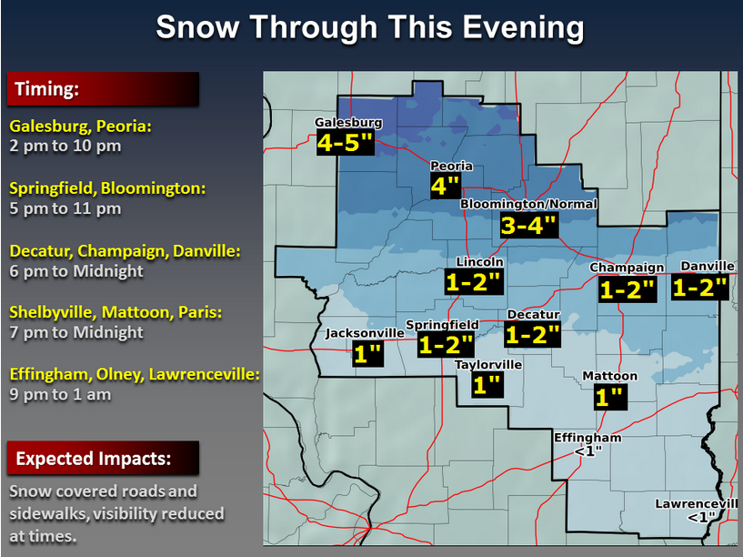 The National Weather Service in Lincoln reported falling snow will reach Bloomington-Normal between 5 and 6 p.m. Monday, with 3-4 inches of snow expected for the area. Credit: National Weather Service Forecast Office Lincoln.