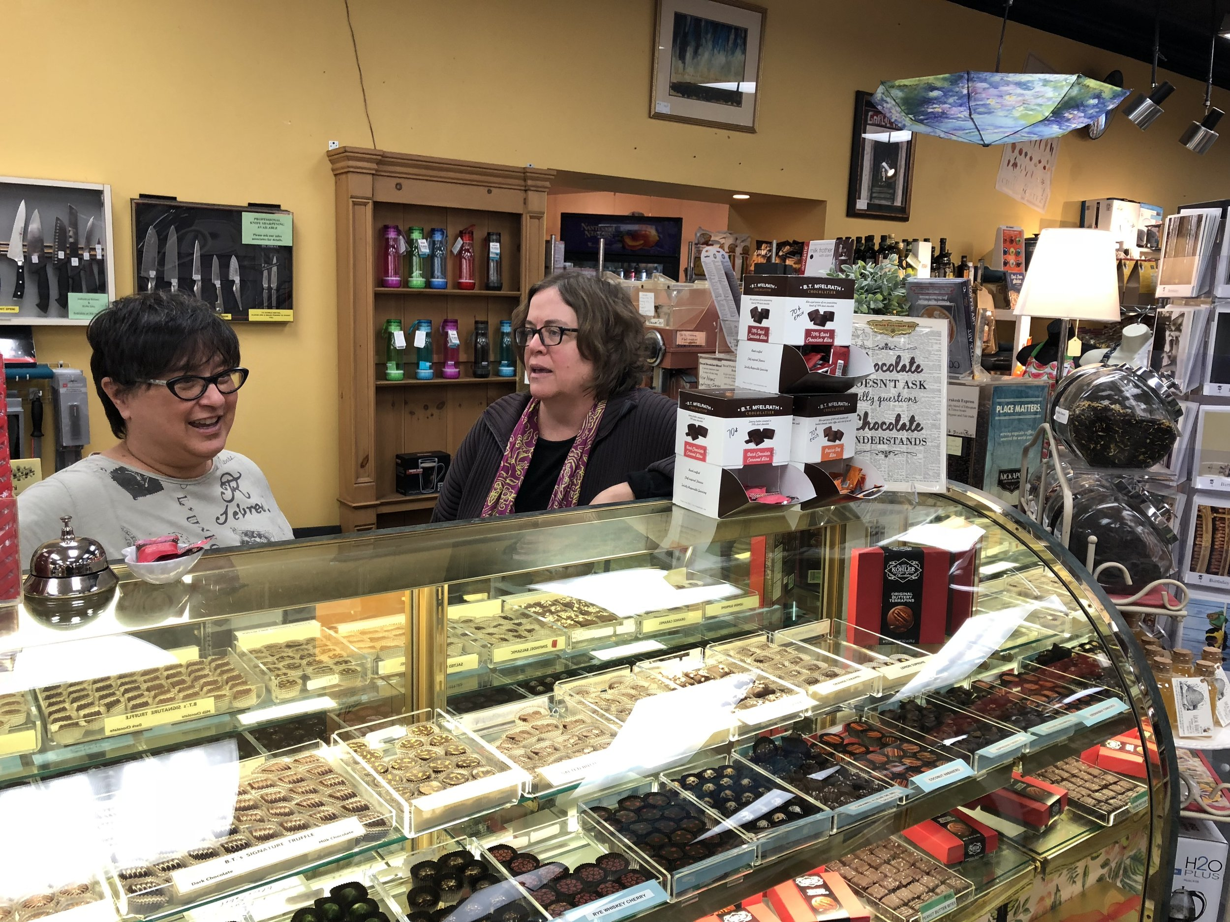 Pam Locsin (left) and Sarah Bushnell McManus (right) became business partners at The Garlic Press in 2000. They joined owner Dorothy Bushnell (not pictured) who has owned the business since 1976. (Image credit: Erik Prenzler)
