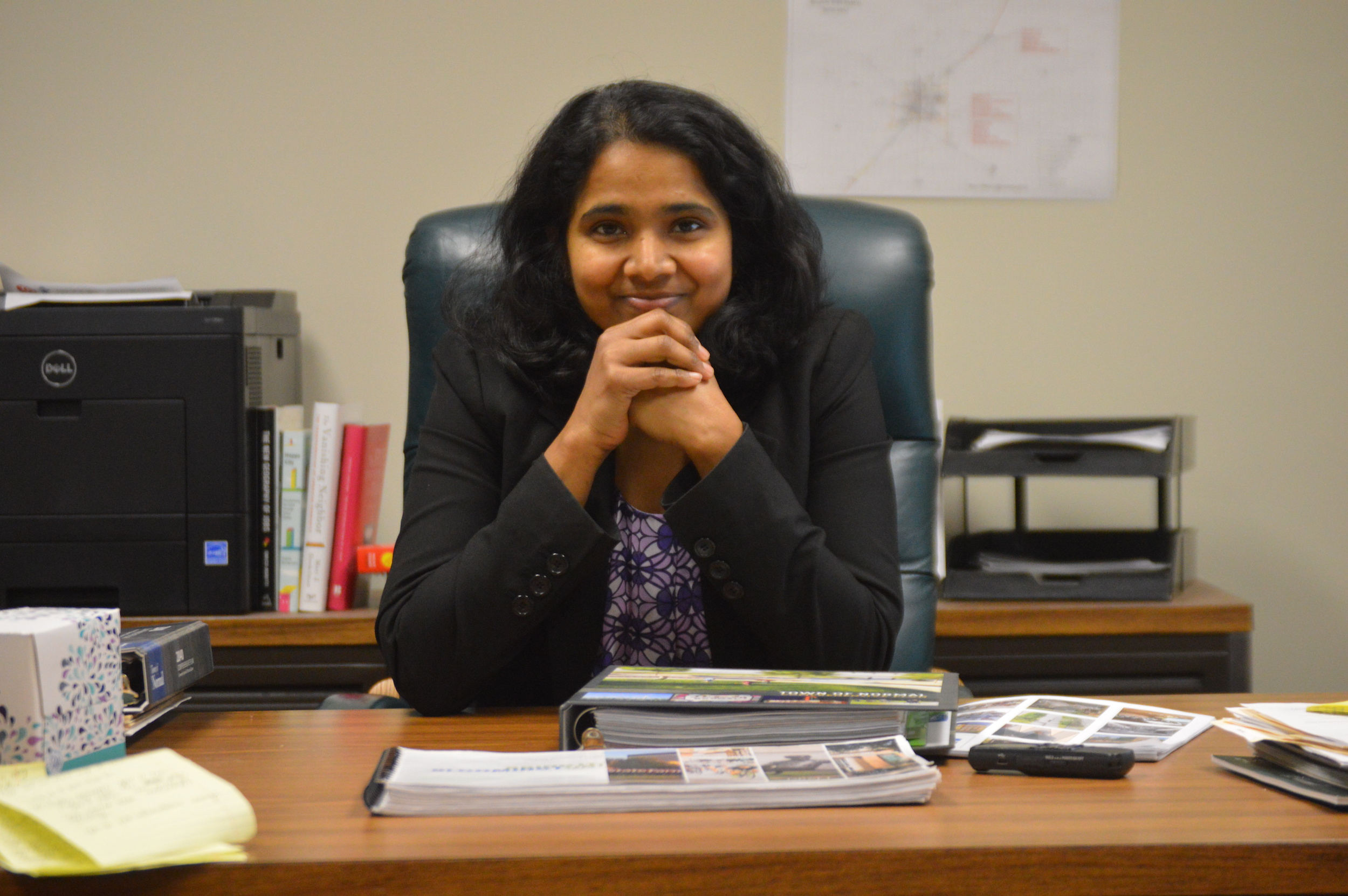 Vasudha Pinnamaraju worked as an architect before earning her master's in urban and regional planning from Iowa State University. She served the City of Decatur as a city and neighborhood planner before becoming Executive Director of the McLean County Regional Planning Commission. (Image Credit: Breanna Grow)