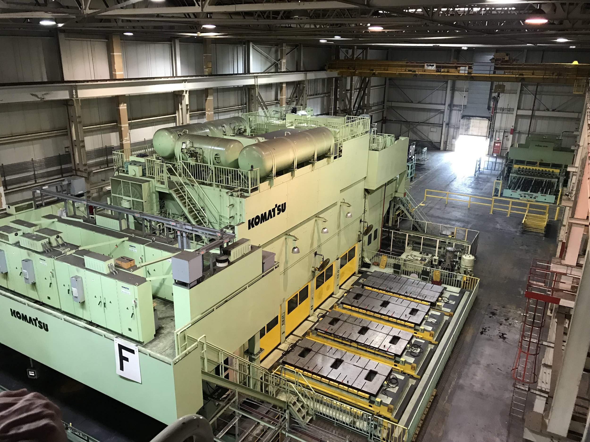 The largest stamping machine at the Rivian Factory, photo taken from 4 stories above. (Photo: Christian Prenzler)