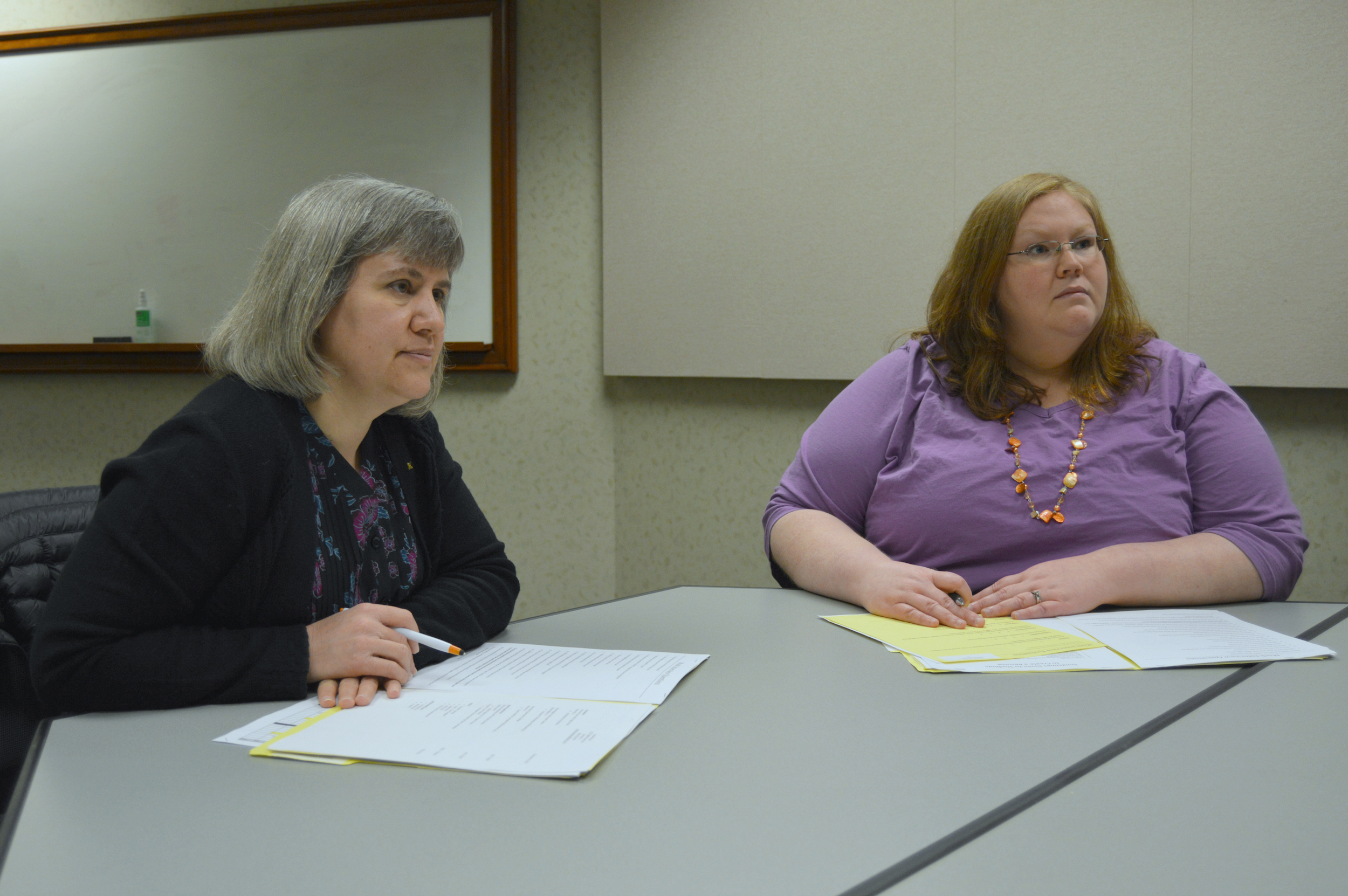 State Farm employees and program volunteers Tanya Waninger and Jen Tucker-Vinsel gave mock interviews Friday to BACC students at the State Farm Oakland Avenue Building in Bloomington. (Image credit: Breanna Grow)