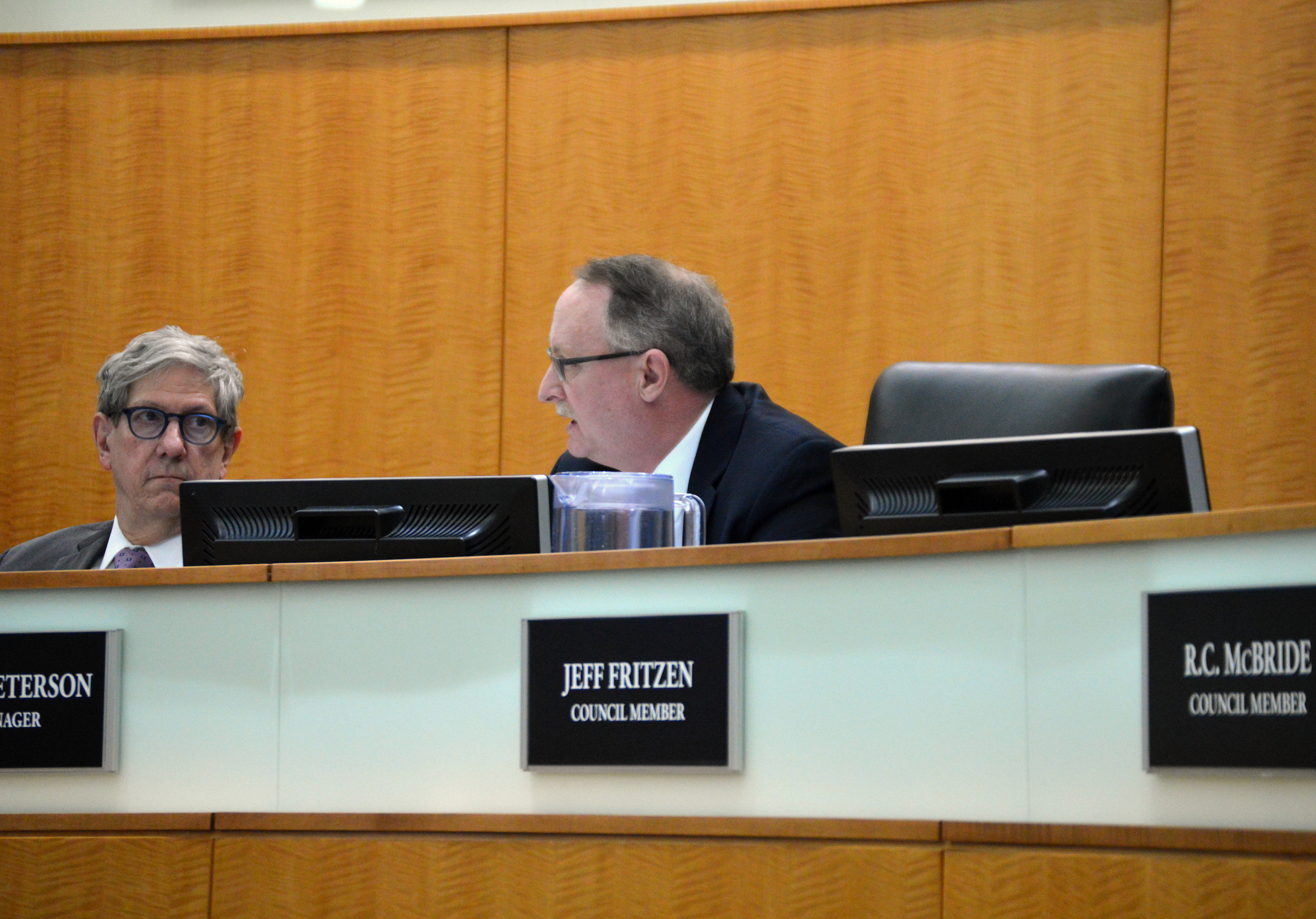 Normal City Manager Mark Peterson attended his final Council meeting Monday night. Peterson will retire March 30 and Deputy City Manager Pamela Reece will take over the position. (Image Credit: Breanna Grow)