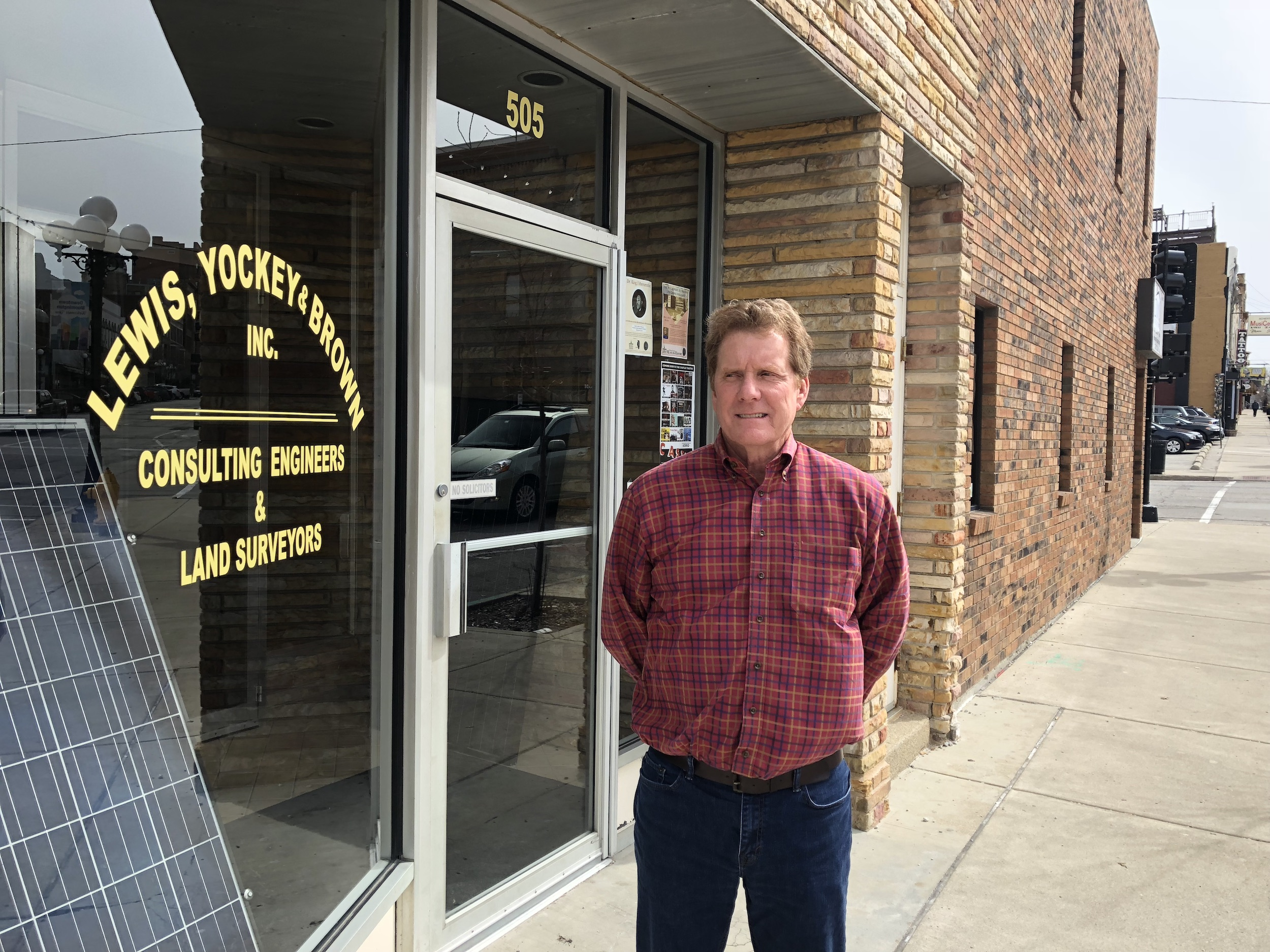 David Brown, President of Lewis, Yockey & Brown, Inc., poses outside the civil engineering firm's office,which has been in the same location since 1983. (Image credit: Erik Prenzler)