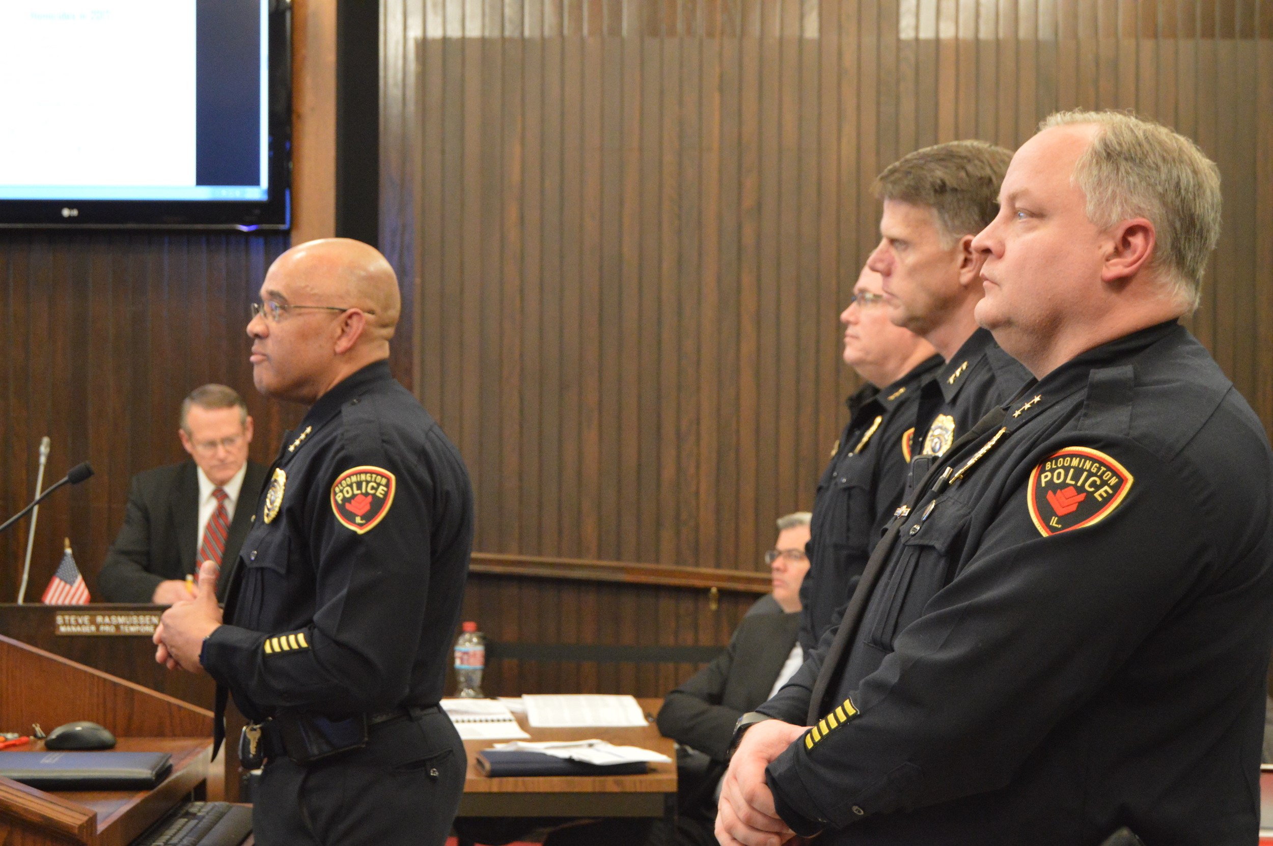 Bloomington Chief of Police Brendan Heffner presented the department's Annual Police Report at Monday night's Council meeting. The department recorded ten fewer major crimes in 2017, or a 1% decline, from the previous year. (Image credit: Breanna Grow)