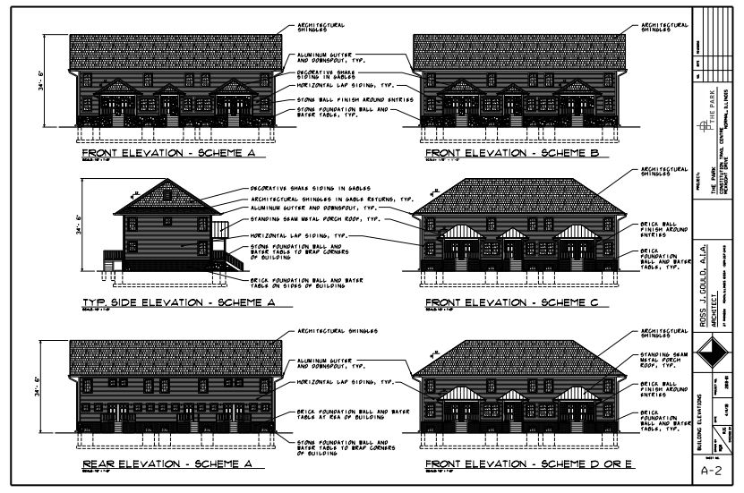 """Illustrations by project architect Ross Gould show the planned exterior of the townhomes at """"The Parks."""" (Illustration: Town of Normal)"""