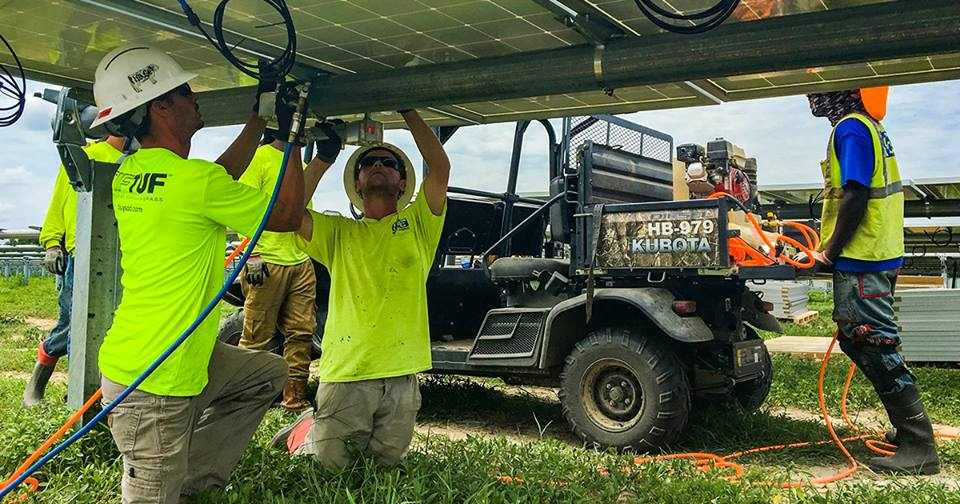 Construction crews install solar modules at A Cypress Creek Renewables development in North Carolina. McLean County Board members approved the developer's fourth area project Tuesday. (Photo: Cypress Creek Renewable/Facebook)