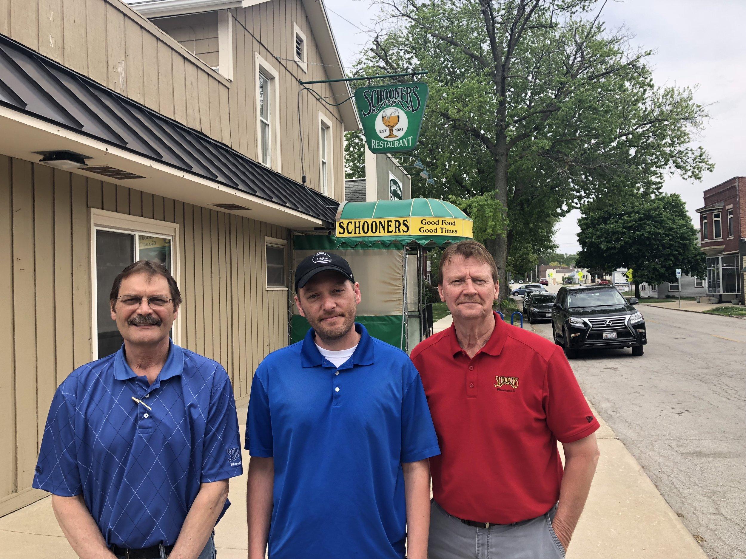 (Left to right)Mike Svob, Adam Jones, Bob Groetken in front of Schooners on Grove Street (Photo: Erik Prenzler/AdaptBN)