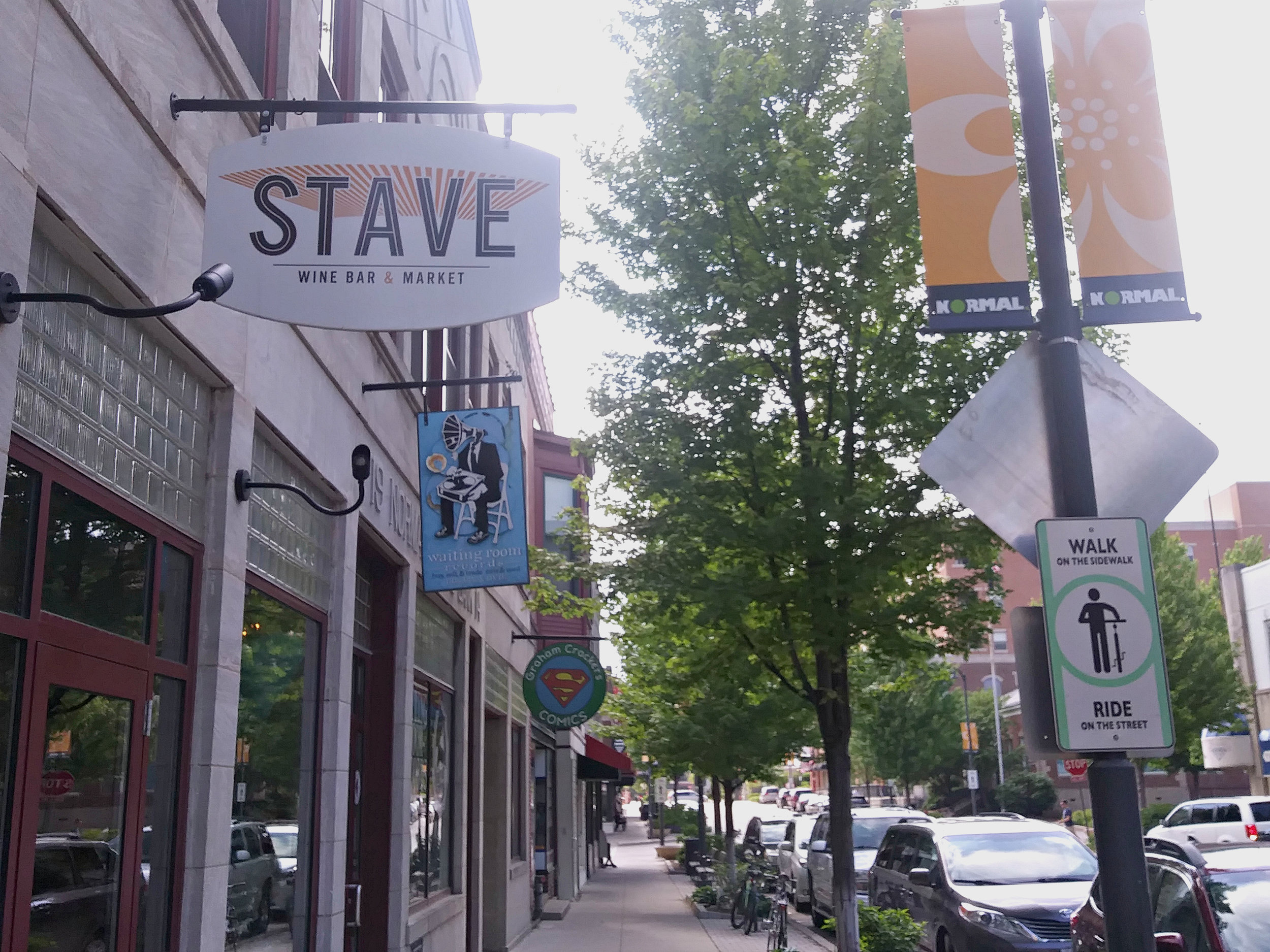Stave Wine Bar and Market at 111 W. North St. in Normal will be the site of an on-street cafe seating pilot program beginning this summer. (Photo: Breanna Grow/AdaptBN)