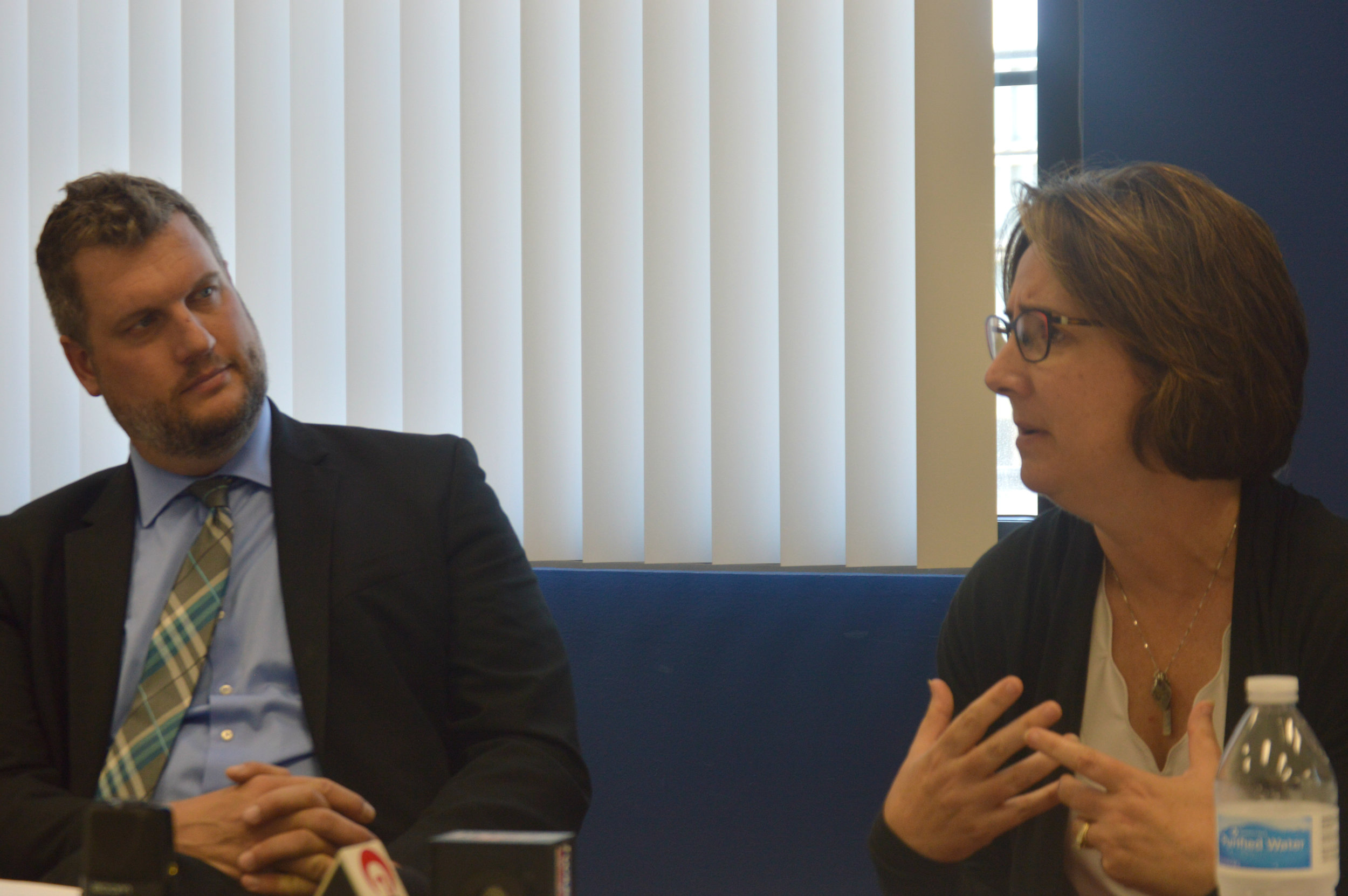 United Way of McLean County President and CEO David Taylor, left, and project consultant Kathleen Lorenz discuss new fundraising models during a press conference Wednesday at the agency's Downtown Bloomington office. (Photo:Breanna Grow/AdaptBN)