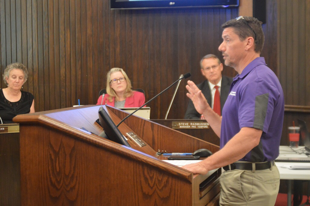 District 87 Superintendent Barry Reilly addressed Bloomington aldermen Tuesday night during a discussion of the City's use of Tax Increment Financing (TIF). (Photo: Breanna Grow/AdaptBN)