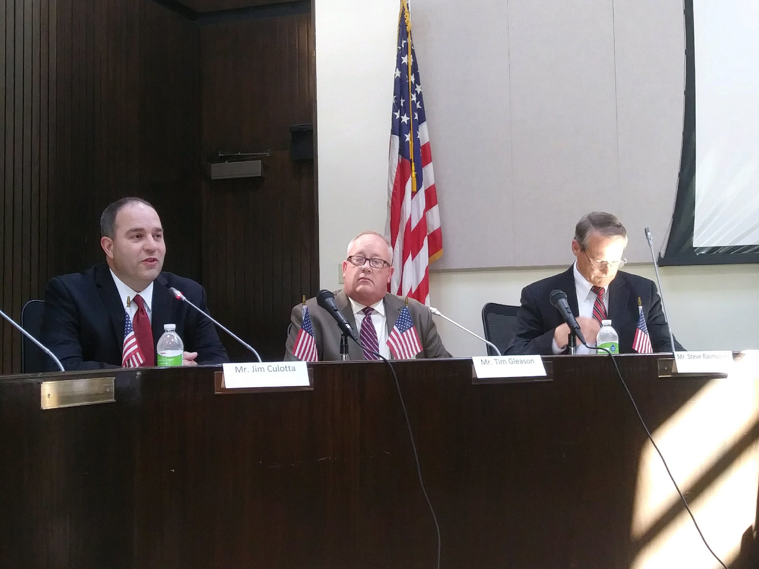 Interim Bloomington City Manager Steve Rasmussen (right),Decatur City Manager Tim Gleason (center) , and Washington City Administrator Jim Culotta (left) are all in the running for the position, the City announced last week. (Photo: Breanna Grow/AdaptBN)