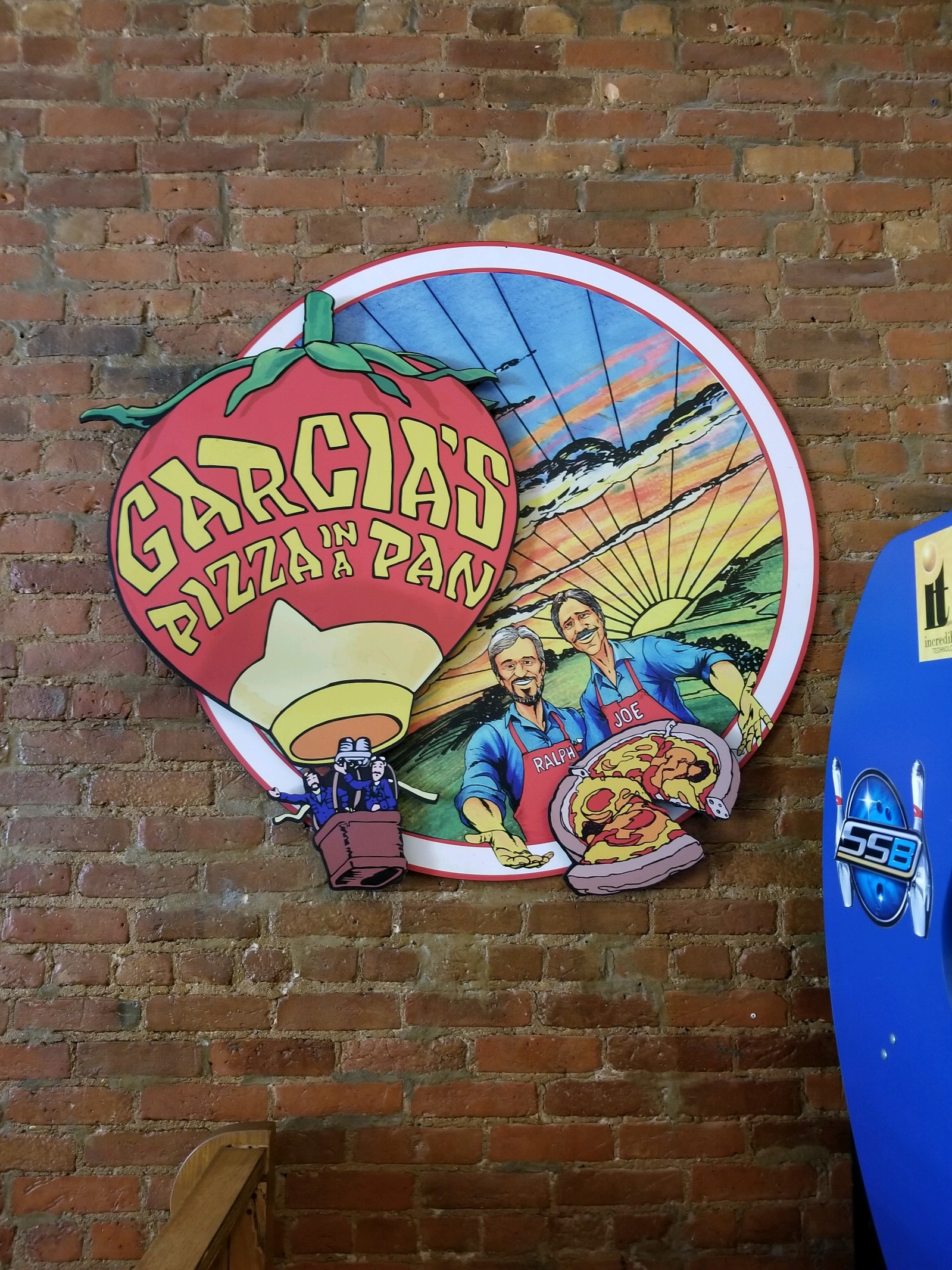 The famous logo of Garcia's Pizza in a Pan (Photo: Molly Crusen Bishop)
