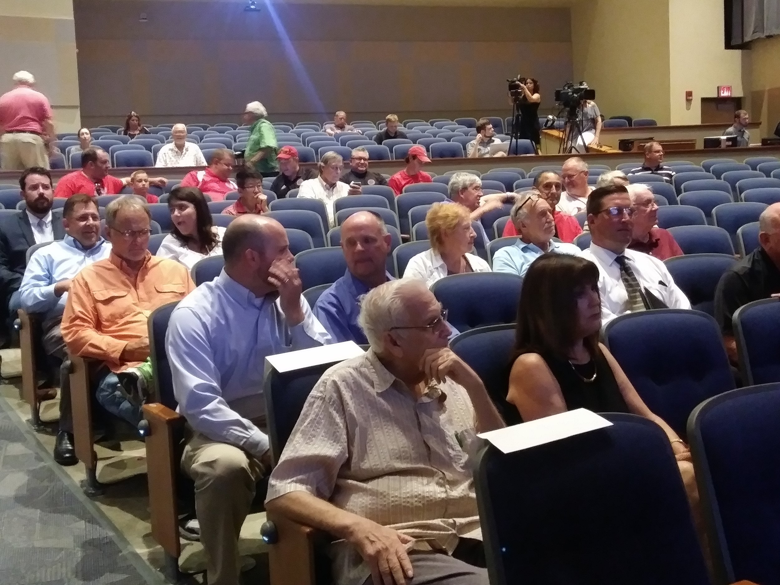 Local Leaders and community members at Heartland Community College to hear the results of a consultants study. (Photo: Breanna Grow)
