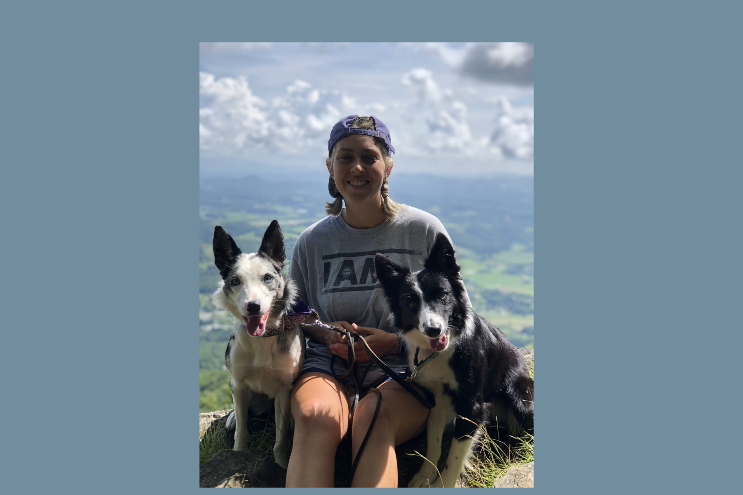 Courtney with her two Border Collies, Cali and Goose.